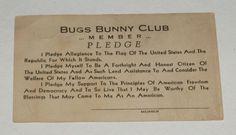 1940's Bugs Bunny Club Movie Theatre Membership Card Premium | eBay