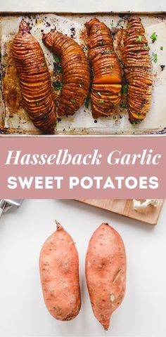 Impress your dinner guests with these exquisite Hasselback Garlic Sweet Potatoes! They're a fancy spin on a classic comfort food. Not to mention, hasselback potatoes are super simple to whip up and complete any meal. Vegetarian Side Dishes, Healthy Side Dishes, Vegetarian Recipes, Healthy Recipes, Real Food Recipes, Great Recipes, Food Heaven Made Easy, Hasselback Sweet Potatoes, Healthy Potatoes