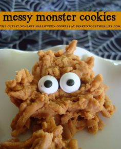 Messy monster cookies are the cutest no-bake Halloween cookies at shakentogetherlife.com #nobake #cookies #Halloween