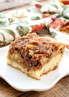 Layered Pumpkin Coffee Cake starts with a sour cream coffee cake that is layered with a creamy pumpkin filling and then topped with a crunchy cinnamon sugar and pecan topping; this is a wonderfully unique pumpkin dessert! Pumpkin Pie Oatmeal, Pumpkin Coffee Cakes, Pumpkin Dessert, Pumpkin Cheesecake, Pumpkin Recipes, Cake Recipes, Dessert Recipes, Breakfast Recipes, Breakfast Ideas
