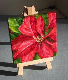 Poinsettia Painting  Small Acrylic Painting by ShirleyArt on Etsy