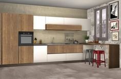 Stosa_Progetto_10MQ_1 Kitchen Design, Sweet Home, Kitchen Cabinets, Table, Furniture, Home Decor, Decoration, Houses, Kitchens