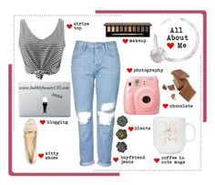 """All About Me"" by bubblybeauty135 ❤ liked on Polyvore featuring Topshop, Clarins, Vinyl Revolution and allaboutme"