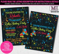 Skate Party Invitation 1980's Invitation Neon Party por MetroEvents