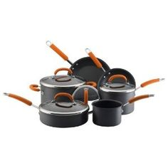 #9: Rachael Ray Hard Anodized Nonstick 10-Piece Cookware Set, Orange