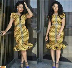 Yellow Stripe Ankara Fitted Dress