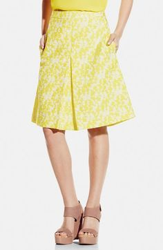 Free shipping and returns on Vince Camuto Pleat Front A-Line Jacquard Skirt at Nordstrom.com. A classic A-line skirt with a kicky pleat in front captures a piece of the sun in a textured, cotton-blend jacquard of saturated yellow and white.