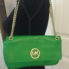 Michael Kors bag Green Michael Kors bag. Chain shoulder straps, outside pocket. Flap front closure. Perfect condition, used once! smoke free home I'm also on ♏️ for less  MICHAEL Michael Kors Bags Shoulder Bags