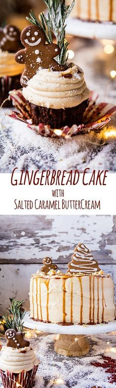 Gingerbread Cake with Caramel Cream Cheese Buttercream. - Half Baked Harvest Gingerbread Cake with Caramel Cream Cheese Buttercream. Christmas Sweets, Christmas Cooking, Noel Christmas, Holiday Baking, Christmas Desserts, Holiday Treats, Holiday Recipes, Christmas Cakes, Holiday Parties