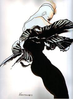 Illustration - Tony Viramontes, dress by Hanae Mori, La mode en peinture, 1983