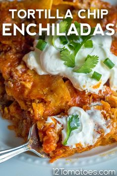 Tortilla chips meet enchiladas… is there any more to say? Mexican Casserole, Casserole Recipes, Meat Recipes, Mexican Food Recipes, Chicken Recipes, Cooking Recipes, Diabetic Recipes, Red Enchilada Sauce, Recipes