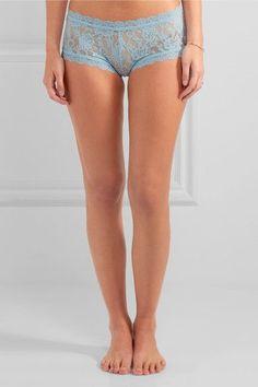 Hanky Panky - Signature Set Of Three Stretch-lace Boy Shorts - Light blue -