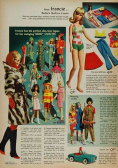 1966 color print ad for Barbie's Mod'ern Cousin, Francie.  #barbie #dolls