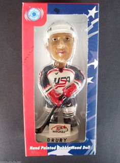 Team USA Hand Painted Bobble Dobbles Head Doll #18 Jersey Drury Hockey Olympics