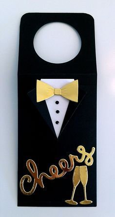 Tag wine bottle tag for men suit and bow tie (Bowtie from MFT Suit and Tie Die-namics die set) tuxedo smoking jacket - Lawn Fawn scripty cheers Taylored Expressions champagne glass glasses - Happy New Year Merry Christmas -  til og fra kort flaske tag nytår skål vin glas champagne - JKE