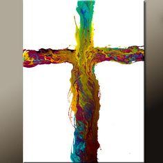 "NEW - Original Cross Art Painting ""Salvation"" - Abstract Canvas Art Painting  18x24  $69.00"