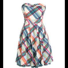 Delias Plaid Strapless Dress Size 7