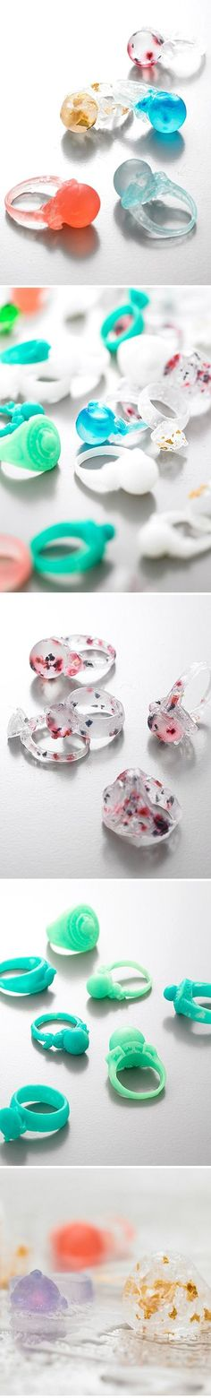 As you wash your hands, the ring slowly disappears leaving your hands smelling like a drop of perfume. SO COOL! Ring soap!