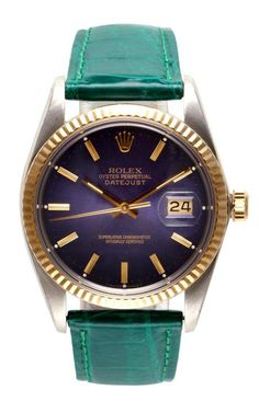 Rolex Stainless Steel And 18K Yellow Gold Quickset Datejust With Blue Dial by CMT Fine Watch and Jewelry Advisors for Preorder on Moda Operandi