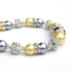 Silver Gray and Lemon Pearl Bling Bracelet by AMIdesigns on Etsy, $24.00