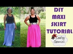 How to Make a Maxi Skirt- DIY Tutorial- NO ELASTIC waistband. In this video I teach you how to make a maxi skirt without an elastic waistband. Instead, I show you how to look for a super stretchy fabric for the waistband. I prefer this look and it is a Diy Clothes Tutorial, Diy Clothes Refashion, Diy Clothing, Sewing Clothes, Diy Tutorial, Sewing Coat, Tutorial Crochet, Diy Maxi Skirt, Maxi Skirt Tutorial