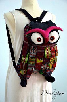 Owl Backpack - Tablet bag, Camera, Patchwork, Handbag, Purse, Unique, Women, Stylish - HMONG GO252