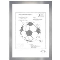 Oliver Gal 'Soccer Ball Framed Memorabilia in Silver Frame Colour: Silver Soccer Decor, Antique Phone, Patent Drawing, Thing 1, Oliver Gal, Wood Bars, Boy Room, Soccer Ball, Metal Art