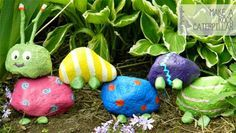 DIY Garden Rock Caterpillar