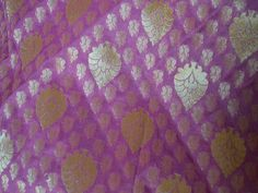 Indian Brocade Fabric in Mauve and Gold Floral Pattern Weaving - Indian Art Silk, Wedding Dress Fabric - Banarasi Fabric by Yard Indian Silk Brocade Fabric in Mauve and Gold Floral Pattern Weaving - I Wedding Fabric, Wedding Dress, Ikat Fabric, Weaving Art, Brocade Fabric, Sewing Accessories, Couture, Gorgeous Fabrics, Indian Art