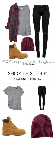 """""""Inspired Outfit for KCON: Jungkook"""" by btsoutfits ❤ liked on Polyvore featuring J Brand, Timberland, H&M and Monki"""