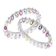 Pair of Multi-Colored Sapphire and Diamond Fringe Bangle Bracelets