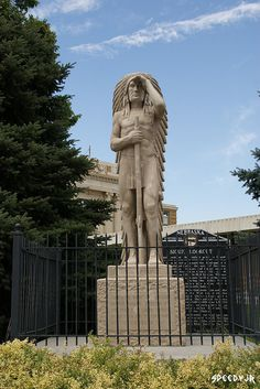 This sculpture of an Indian chief gazing out from Sioux Lookout, the highest bluff in Lincoln County, was erected in 1931. After years of erosion and vandalism, in 2000 the statue was removed, restored, and placed on the courthouse square next to a Nebraska Historical Marker about Sioux Lookout.