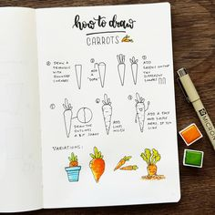 """I love carrots! Raw, soups, juice, in every variation 😀✌🥕 Here is a new """"how to draw"""" for you. Hope you like it 😊✌ . Bullet Journal Notes, Bullet Journal Ideas Pages, Bullet Journal Inspiration, Drawing Journal, Doodle Art Journals, Flower Drawing Tutorials, Art Tutorials, Doodle Drawings, Easy Drawings"""
