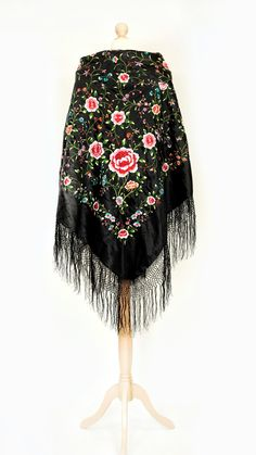 X-large Vintage/antique black embroidered chinese piano shawl/stole/cape with colourful floral embroidery Embroidered Roses, Floral Embroidery, Chinese Wall, Vintage London, Black Fabric, Vintage Antiques, Piano, Cape, Ballet Skirt