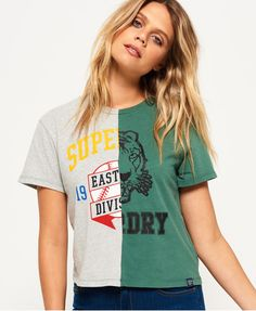 Shop Superdry Womens Corner Back T-shirt in Omega Green/jock Grey Marl. Buy  now with free delivery from the Official Superdry Store.
