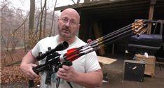 Air Bow Revolver is a Gatling Gun/Crossbow Hybrid Arrow Shooting, Slingshot, Bow Hunting, Crossbow, Revolver, Emergency Planning, Shots, Guns, Crazy 8