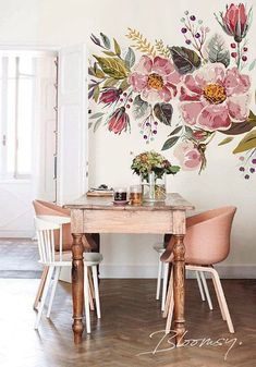 Removable wallpaper - Vintage Field Flowers Mural Wallpaper - Floral Wallpaper - Watercolor Wallpaper - Temporary Wallpaper, Wall Mural #103