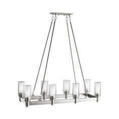 $718 Kichler Circolo 36.25-in W 8-Light Brushed Nickel  Kitchen Island Light with Clear Shades