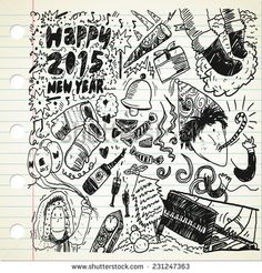 #new #year doodle - stock vector #design #graphic #vector #illustration #doodle #sketch #element