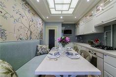 Голубой и бежевый цвет в интерьере кухни