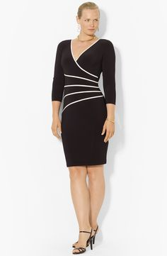 Free shipping and returns on Lauren Ralph Lauren Sheath Dress (Plus Size) at Nordstrom.com. Stark contrast trim radiates from one hip to create a faux-wrap impression on a curve-skimming jersey sheath.