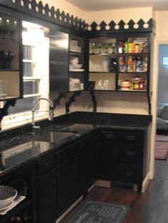 Omg goth kitchen! I have those black granite countertops. Thinking about painting the cabinets & 156 best Gothic Medieval \u0026 Dark Kitchens images on Pinterest in ...