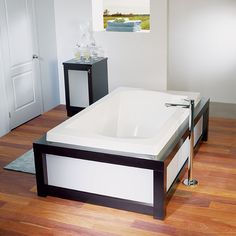 Bathtub with black frame podium style by Alcove / Acore Collection Corner Bathtub, Alcove, Relax, Bathroom, Frame, Style, Collection, Black, Washroom