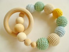 Teething Toy with Crochet  Beads and 1 Wooden Rings. by BarsLV, $12.00