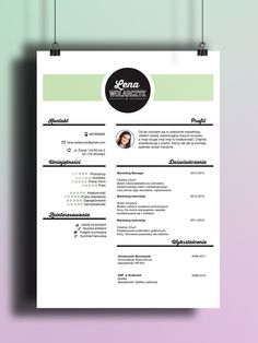 Beuatiful resume design Be Creative! Find us on Etsy <3