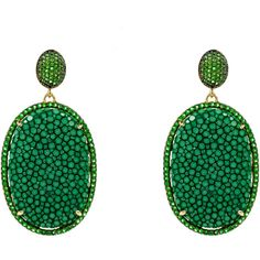 Latelita London - Stingray Pave Oval Earring Emerald Green (€305) ❤ liked on Polyvore featuring jewelry, earrings, sparkle jewelry, ball earrings, sparkly earrings, studded jewelry and star stud earrings