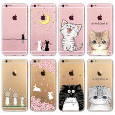 """Fundas Ponsel Tas Kasus Penutup untuk iphone 6 6 S 4.7 """"lembut Slim TPU Transparan Lembut Lucu Animal Cat Owl Kelinci Dicetak Gaya"""