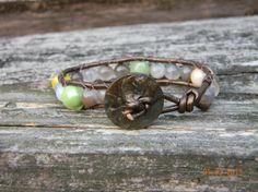 Leather Wrap Bracelet Czech glass and agate Darienne by Aerieanna, $17.00