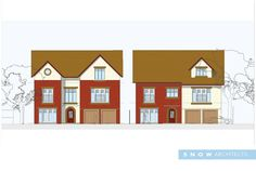 front elevation of both properties -  Meols Drive, Hoylake. Adjacent to the @RLGCHoylake #RLGC for @The_Open #TheOpen Contemporary Self Build Properties - RIBA architects based in Liverpool, Wirral, Merseyside