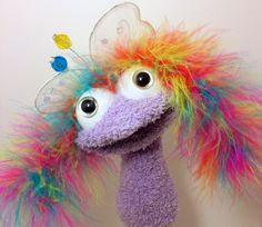 Sock/Hand Puppet Lavender Fairy by SockDrawerPuppets on Etsy